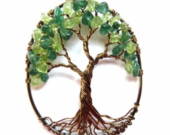 Happy Tree of Life Necklace in Peridot and Dark Green Aventurine, Gemstone Wire Tree, Happiness, Luck, Prosperity