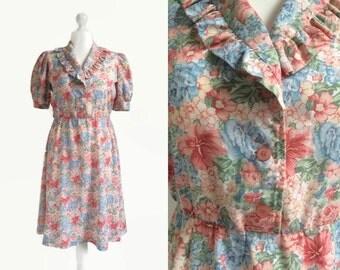 1940's Vintage Dress - 40's Floral Print Dress - English Garden Tea Dress