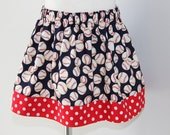 Baseball, red and navy skirt,  toddler girls, ready to ship