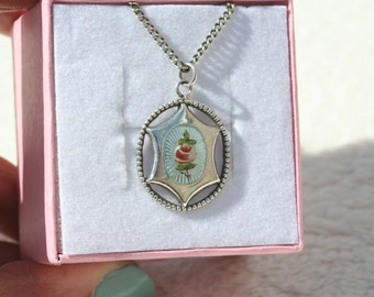 FREE SHIPPING Vintage Guilloche Enamel Charles Horner Sterling Silver Necklace
