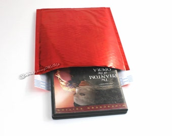 NEW! 20 -6x10 ~Red Metallic Mirrored Foil Bubble Mailers Self Seal Envelopes #0 6x10 Padded Mailing Shipping Envelopes Bags