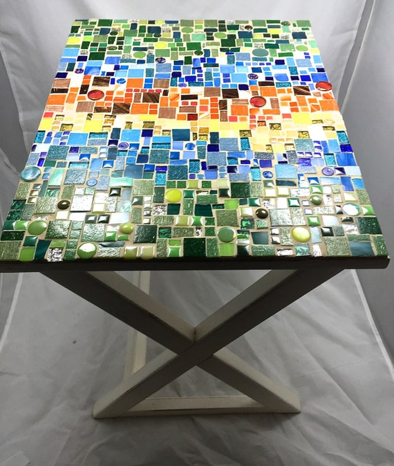Table Mosaic Patterns: Rectangular Mosaic Side Table