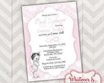Babies and Lace Shabby Chic Baby Shower Printable Invitation