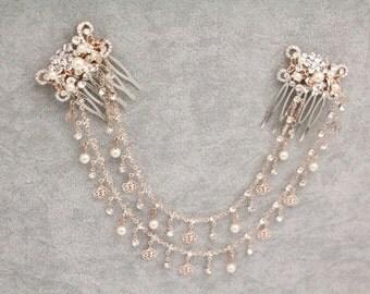 Wedding headband rose gold,Wedding hair accessories pearl,Bridal hair vine,Wedding headpiece bun,Bridal hair piece Chain,Bridal hair band