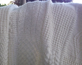 KNITED BLANKET, afghan, cream blanket, cream afghan