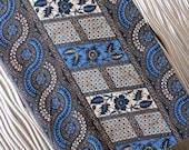 Cone Java Print Fabric - Batik Tablecloth -  Hippie Chic Tablecloth - Boho Tablecloth - Blue Brown Batik Fabric - Free Shipping - 1MTT16