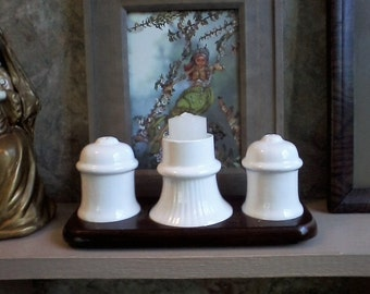 White Salt, Pepper, Candle Caddy Set
