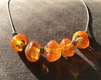 Amber Colored Glass Bead Chunky Necklace with Silver Spacers