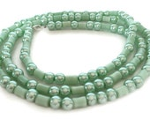 Mint Green Necklace, Long Necklace, Green Beaded Necklace, Green Pearl Necklace, Glass Beaded Necklace, Long Mint Green Necklace