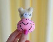 Pink teddy bear cookie pin brooch