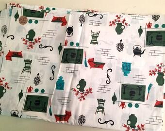 "Vintage Kitchen Fabric, Red Green Aqua, 92"" x 35"""