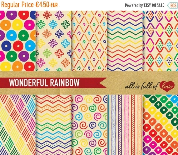 80% OFF Digital Scrapbooking RAINBOW Paper Pack RETRO  Patterns Instant Download