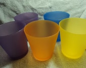 Set of colorful plastic cups