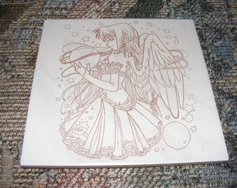 """Laser engraved 8""""x8"""" ceramic tile Celestial Fairy"""