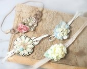 A Moment in Time 4 Pack  - dainty tiebacks in pale peach, cream, ivory, dusty rose, pink, mauve, taupe, light blue, champagne, and mint
