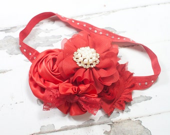 Little Red - headband in red with a beautiful pearl and diamond center - perfect for the Holiday's