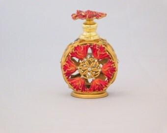 Red and Gold Perfume Bottle, Flower Perfume Bottle, Metal Perfume Bottle, Gift for her