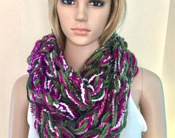 Womens teens designer unique scarf handmade arm knit infinity scarf cowl oversized chunky neck warmer crochet hippie bulky xmas gift