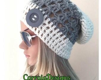BUY1GET1HALFPRICE Womens hand crochet knit oversized slouch beanie snood hat grey cream hippie boho tam teens unique designer