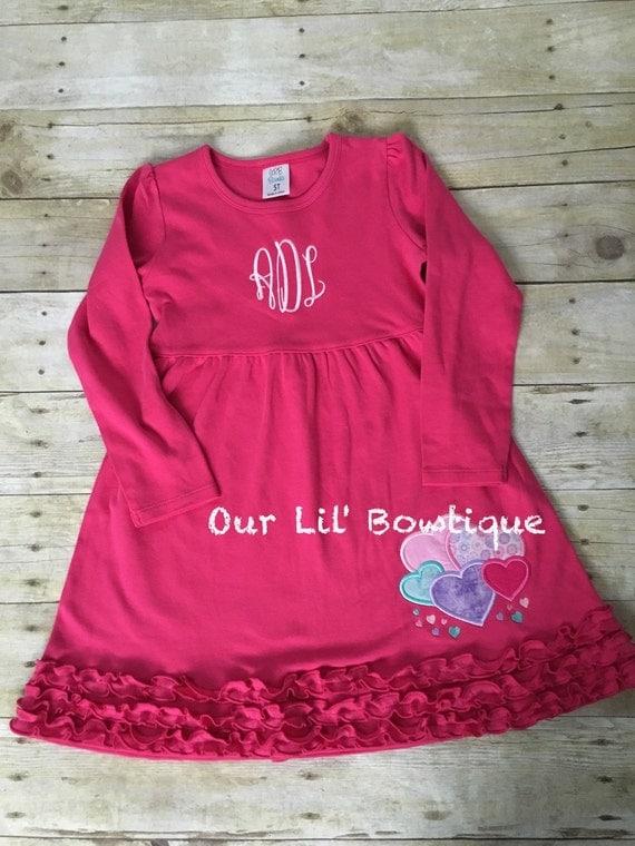 Valentine heart shirt girls dress