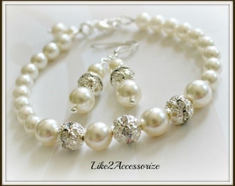 Bridal Bracelet Earring Set. White Ivory Pearls Bracelet. Bridesmaid Bracelet. Wedding Pearl Earring. Bridal Jewelry Set. Bidesmaid Gift Set