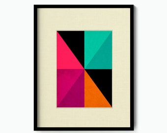 Geometric Composition Art, Triangles and Rectangles in Bold Colors
