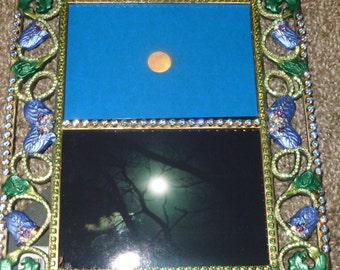 Brass Picture frame - decorated/painted - upcycled - artist signed PRICE REDUCED!