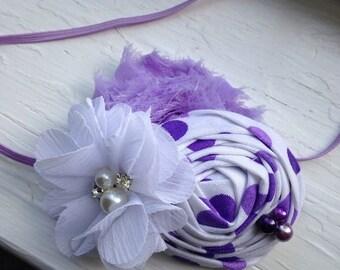Lavender Purple Baby Flower Headband, Newborn Headband, Baby Girl Flower Headband, Photography Prop