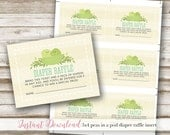 Two Peas In A Pod Baby Shower: Diaper Raffle Ticket, 3x4, Twin Baby Shower, Printable, Gender Neutral, Blue, Green