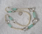 Stunning Lucite Bobble with Faux Pearls and Sea Foam Green Tube Beads Necklace-N1650