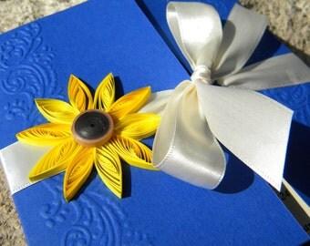Sunflower and cobalt blue wedding invitation / Cobalt blue invitation / Cobalt and yellow invitation / Sunflower wedding invitation