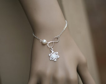 Snowflake bracelet,winter wedding,Best friends,snowflake and infinity bracelet,bridesmaid gifts,wedding bridal jewelry