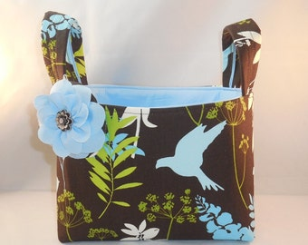 Brown, Blue and Green Bird Themed Fabric Basket With Handles and Detachable Fabric Flower Pin