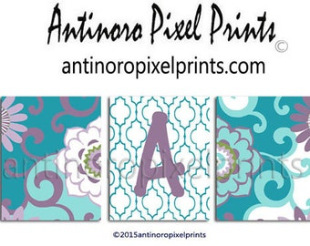 Teal Purple Nursery Personalized Initial Art Baby Nursery Art Prints Collection  -Set of 3 - 8x10 Prints (UNFRAMED) #256002201