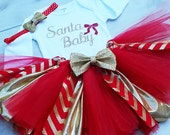 Christmas Outfit,- Red  and Gold Tutu - Baby Girl Christmas Gold Glitter Onsie - Gold Glitter Baby Girl Tutu Santa Baby Outfit