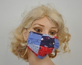 Funky surgical mask, patchwork, unique, organic, washable, reusable, unisex, dog groomer, dentistry, by Mouth shutters