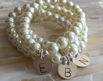 Beaded Initial Pearl Bracelet- Sterling Silver- Hand Stamped- Stackable Bracelet- Mother's Bracelet- Gift for Daughter- Bridesmaid Gift