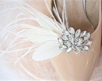 Rhinestone Feather Shoe Clips, Bridal Shoe Clips, Wedding Shoe Clips, Ivory Feather Shoe Clips, Rhinestone Shoe Clips, Crystal Shoe Clips