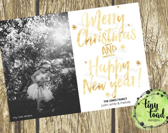 Merry Christmas and Happy New Year, Holiday Cards, Christmas Cards, DIY Printable, digital file (item 1509)