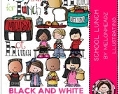School Lunch clip art - BLACK AND WHITE