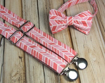 Pink Herringbone Bow Tie and Suspender set  ( Men, boys, baby, toddler, infant ) outfit