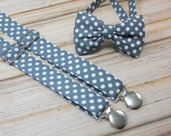 Gray and White Polka Dot Bow Tie and Suspender set ( Men, boys, baby, toddler, infant ) Bow Tie, Bowtie, Suspenders, Suspender Set outfit
