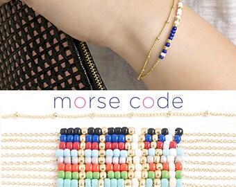 2 Layers Satellite Custom Morse Code Bracelet, Gold / Silver, 8 Color Option, Bridesmaid Wedding Girlfriend Gift, Bohemian boho MC ej wj