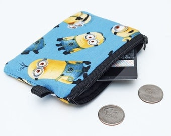Kids Coin Purse, Small Zipper Change Bag, Mini Padded Pouch, Zip Wallet for Boys - Minions in blue