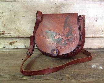 Tooled Leather Saddlebag Butterfly Design Crossbody Saddle Bag Chestnut Brown Handbag