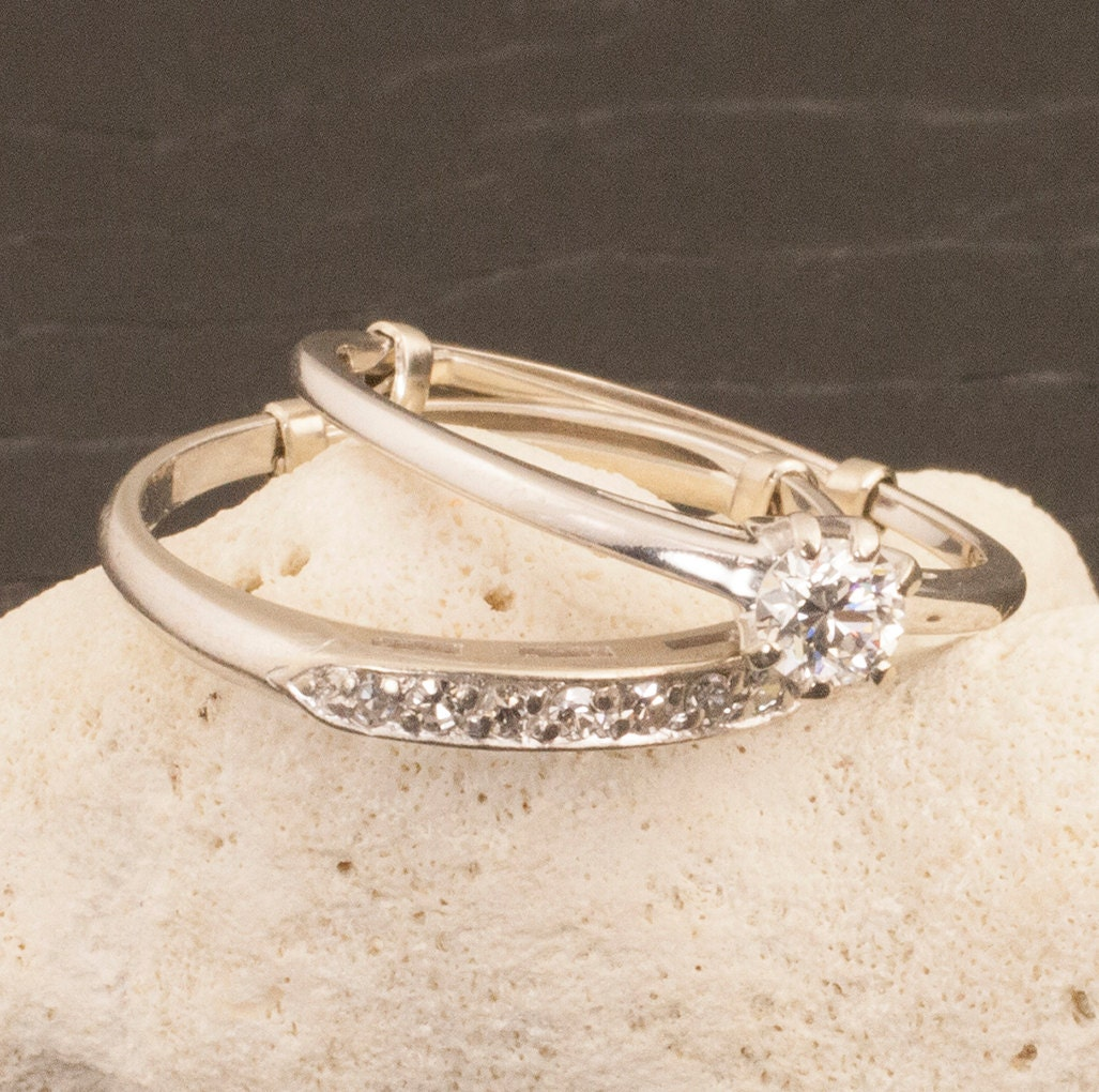 Antique Gold N Jadtar Set: Vintage 14 Karat Gold Diamond Wedding Ring Set