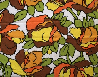 Beautiful 60s Mod Flower Vintage Fabric Large Scale Graphic Floral Mid Century Heavy Upholstery Home Decor By the Yard Cute Bright Fun CBF