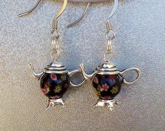 Millefiori Teapot Earrings