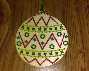 Wooden Ornament Hand Stitched
