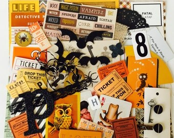 Halloween Scrap Pack / 75 Pc. Halloween DIY Kit / Halloween MIxed Media Scrap Pack for Collage, Altered ARt